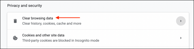 Selecione Limpar dados de navegação nas configurações do Chrome