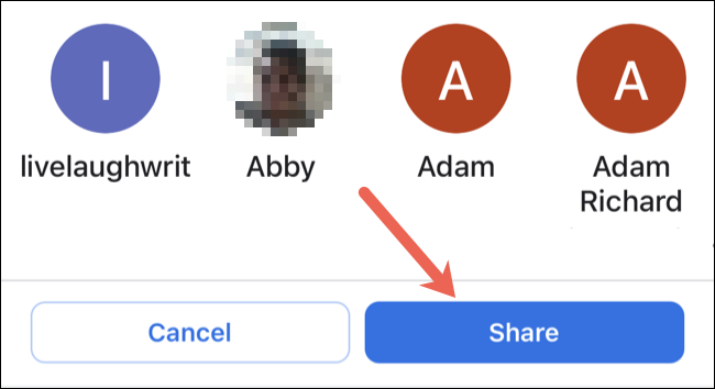 Escolha um contato e toque em Compartilhar