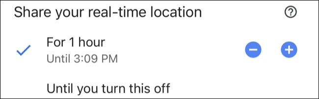 Escolha um período de tempo para compartilhar sua localização