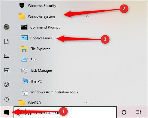 Sistema Windows do menu Iniciar