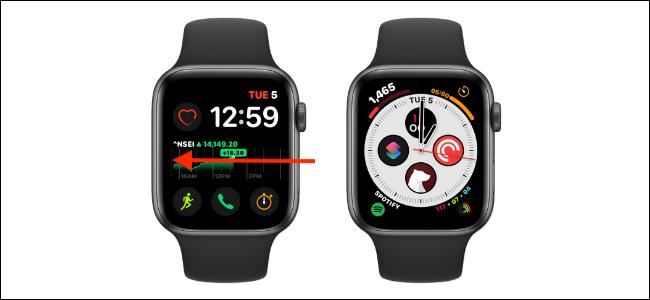 Deslize da borda esquerda ou direita para alterar o mostrador do relógio no Apple Watch