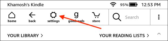 Toque em Configurações na página inicial do Kindle
