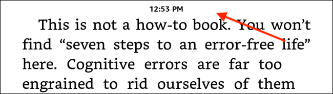 Toque na metade superior da tela do Kindle
