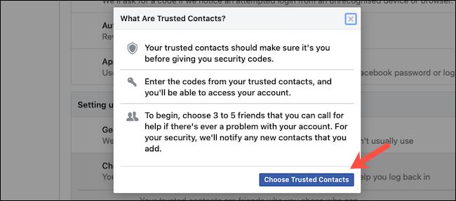 Adicionar contatos confiáveis no Facebook