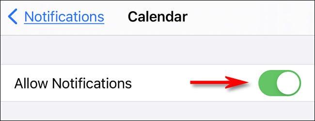 Nas configurações do iPhone, ative as notificações do Calendário.