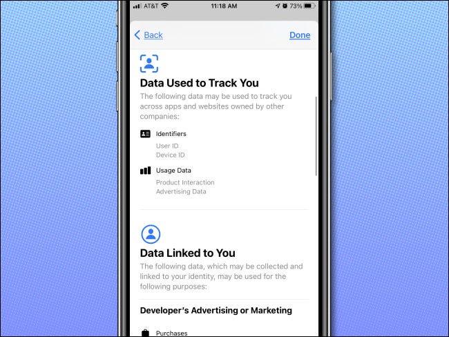 Detalhes de privacidade da App Store no iPhone