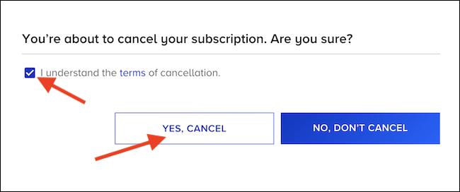 """Marque a caixa """"Eu entendo"""" e clique no botão """"Sim, Cancelar"""""""