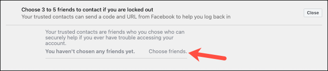 Escolha contatos confiáveis no Facebook