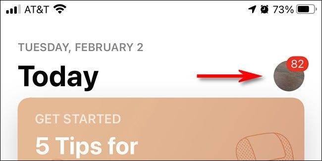Na App Store do iPhone, toque na imagem do seu perfil.
