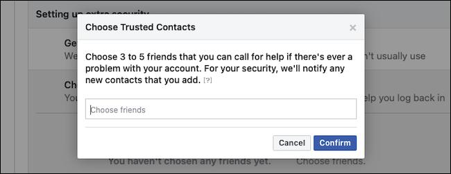 Confirme os contatos confiáveis do Facebook
