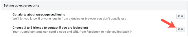 Editar contatos confiáveis do Facebook