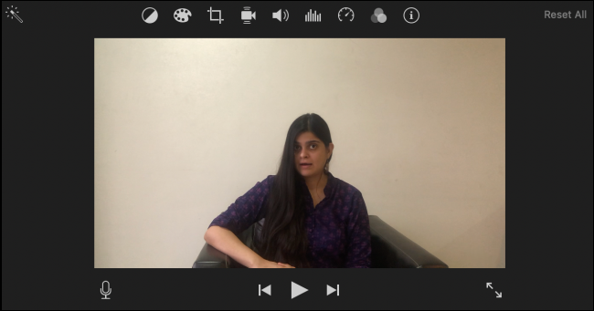 Seção de edição do iMovie