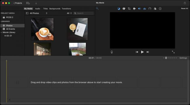 Tela de edição do projeto iMovie
