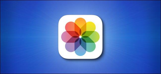 Ícone do aplicativo de fotos do iOS em fundo azul