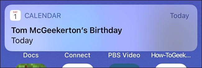 Um exemplo de alerta de aniversário do Calendário do iPhone.