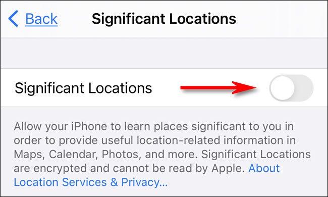 """Nas configurações do iPhone, desative """"Locais significativos""""."""