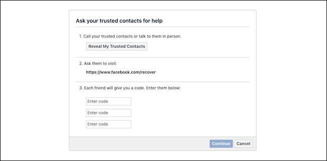 Recupere a conta do Facebook com contatos confiáveis