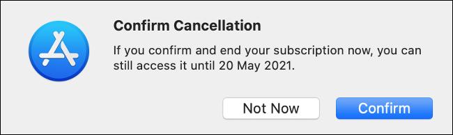 Confirme o cancelamento através da Mac App Store