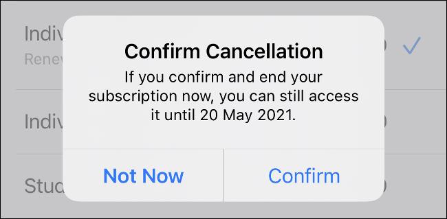 Confirme o cancelamento no iPhone