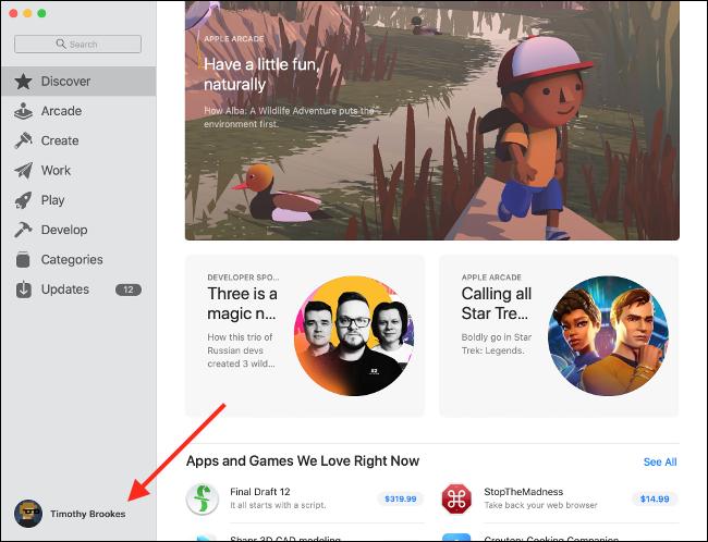Preferências de Apple ID da Mac App Store