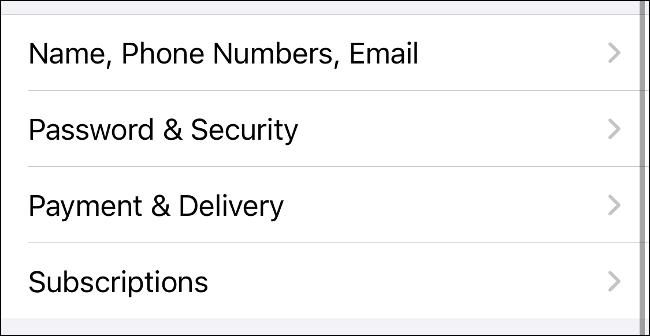 Selecione Assinaturas nas Preferências de ID Apple