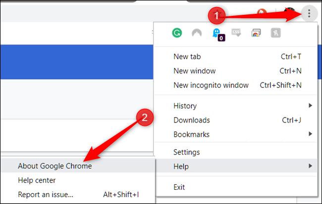 Clique em Mais, aponte para Ajuda e clique em Sobre o Google Chrome