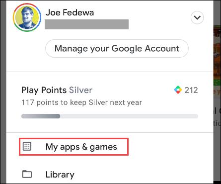 """selecione """"Meus aplicativos e jogos"""" no menu"""