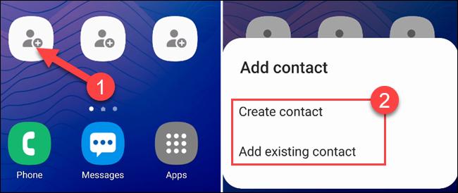 """Toque em um dos atalhos vazios para selecionar um contato e selecione """"Criar contato"""" ou """"Adicionar contato existente""""."""