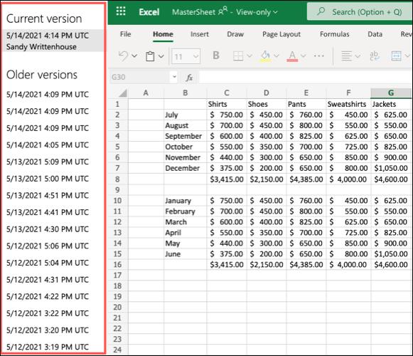 Versões anteriores no Excel para a Web