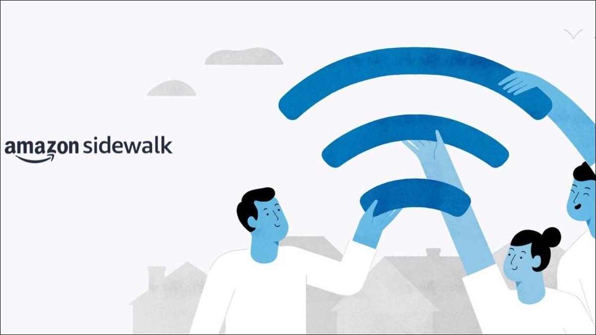 Texto da Amazon Sidewalk e ilustração de pessoas segurando parte do símbolo de WiFi