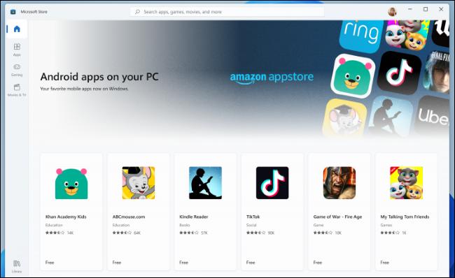 Aplicativos Android da Amazon Appstore na Microsoft Store
