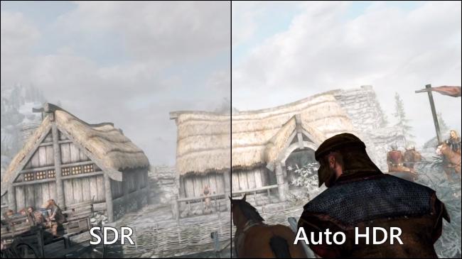 Comparando o SDR padrão com o HDR automático no Skyrim em um PC com Windows 11.