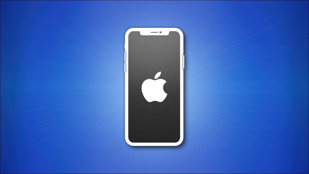 Contorno do iPhone com tela cinza em fundo azul