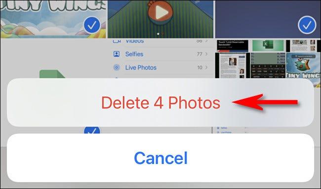 """No aplicativo Fotos no iPhone ou iPad, toque em """"Excluir fotos"""" para confirmar a exclusão."""