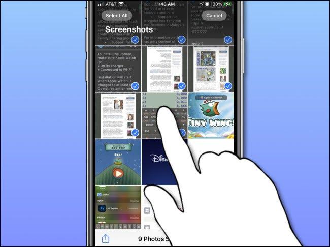Seleção de várias fotos no aplicativo Fotos do iPhone.