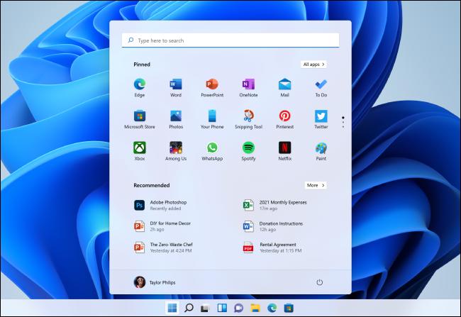 Novo menu Iniciar do Windows 11.