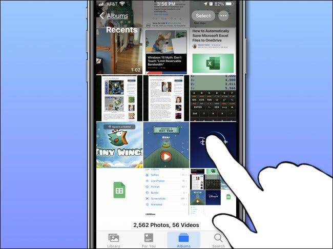 Toque em uma única miniatura de foto no aplicativo Fotos do iPhone para abri-la.