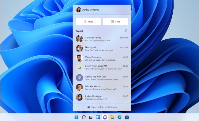 O pop-up do Microsoft Teams Chat no Windows 11.