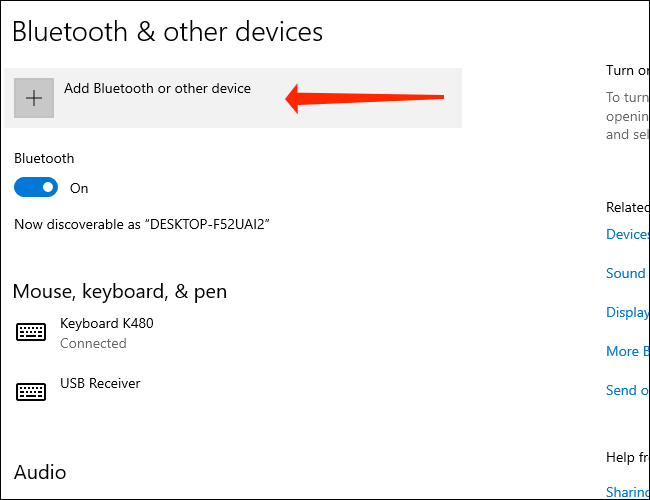 Clique em Adicionar Bluetooth e outros dispositivos para emparelhar um dispositivo Bluetooth com seu PC Windows 10
