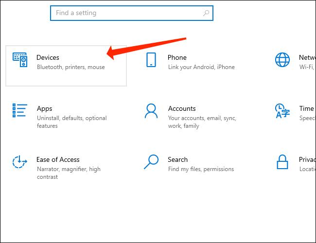 Clique em Dispositivos nas configurações do Windows 10 para acessar as configurações de emparelhamento Bluetooth