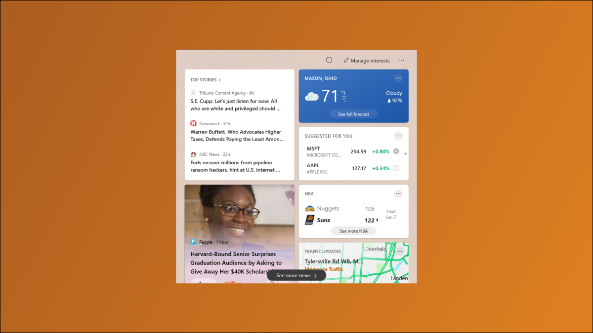 Notícias e clima do Windows 10.