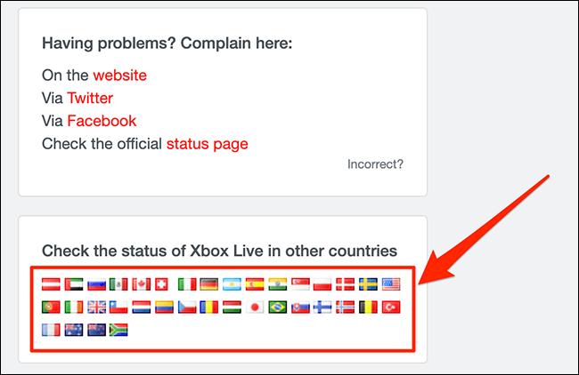 Menu de status regional da rede Xbox no Downdetector.