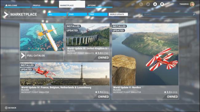O Microsoft Flight Simulator Marketplace.