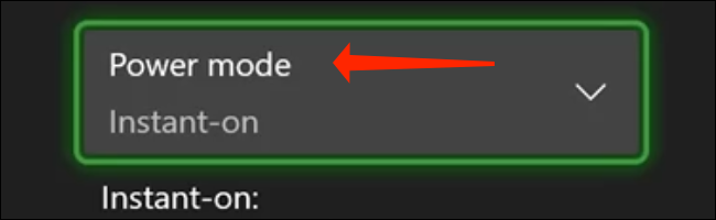 Na página de configurações de Power Mode & Startup, selecione o menu suspenso para