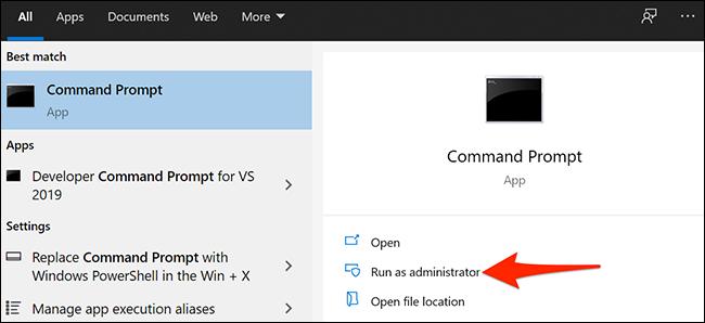"""Selecione """"Executar como administrador"""" para Prompt de Comando no menu Iniciar do Windows 10."""