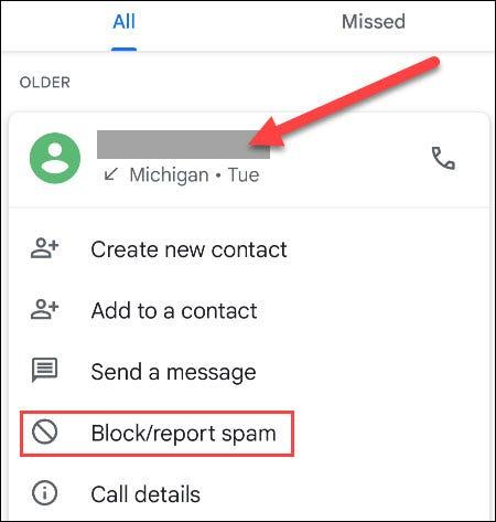 """Selecione uma chamada e toque em """"Bloquear / Denunciar spam""""."""
