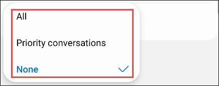 Escolha as opções de conversa.