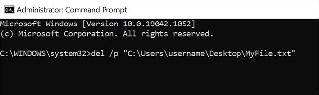 """Use o comando """"del / p"""" para excluir um arquivo com um prompt do Prompt de Comando."""