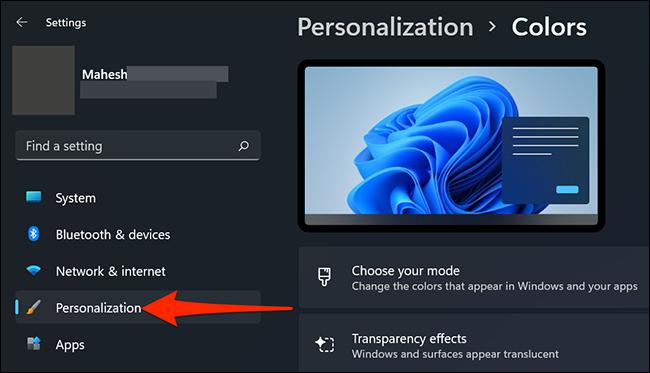 """Clique em """"Personalização"""" em Configurações no Windows 11."""