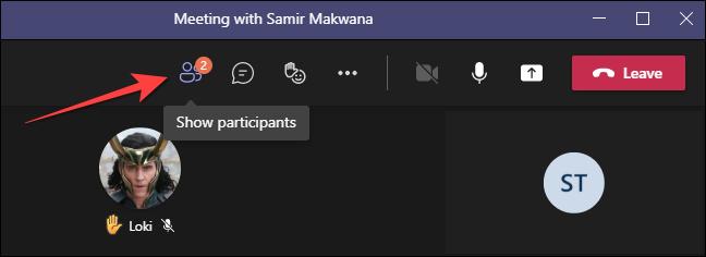 """Durante uma chamada de vídeo na área de trabalho do Microsoft Teams, selecione o botão """"Participantes"""" na parte superior."""
